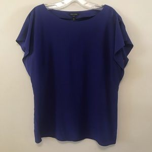 Escada Navy Blue Open Sleeve Blouse Sz 38 Silk